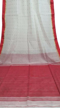 White & Red Silk Cotton Zatika-yespoho
