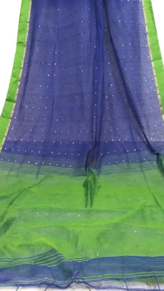Royal Blue & Green Silk Cotton Zatika-yespoho