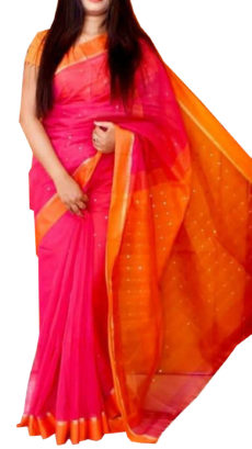 Bright Orange & Rani Silk Cotton Zatika-yespoho