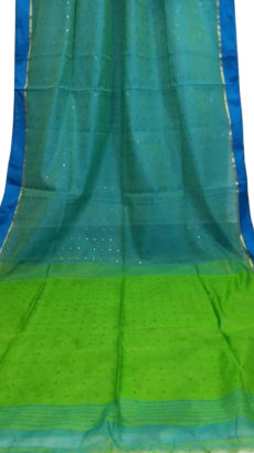 Green & Sky Blue Silk Cotton Zatika-yespoho