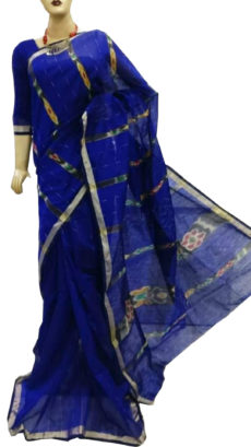 Royal blue ikkat  stipe saree-yespoho
