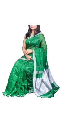 Green Silver Zari Checks Motif Silk Cotton Zatika-yespoho
