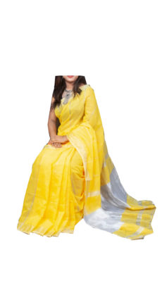 Lemon Yellow Silver Zari Checks Motif Silk Cotton Zatika-yespoho