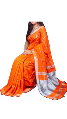 Orange Silver Zari Checks Motif Silk Cotton Zatika-yespoho