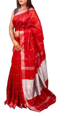 Red Silver Zari Checks Motif Silk Cotton Zatika-yespoho