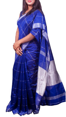 Royal Blue Silver Zari Checks Motif Silk Cotton Zatika-yespoho