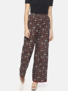 Mytri Women's Brown Cambric Print Regular Palazzo-yespoho