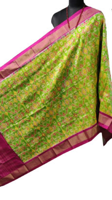 Parrot Green & Pink Ikat Silk Duppata-yespoho