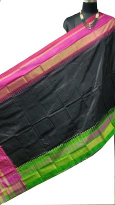 Black& Pink  Temple Motif Silk Duppata.-yespoho