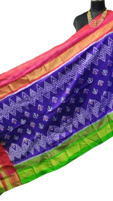Royal Blue & Pink Ikat Zig Zag And Floral Motif Silk Duppata.-yespoho