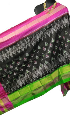 Black & Pink Ikat Zig Zag And Floral Motif Silk Duppata.-yespoho