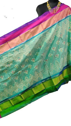 Sky Blue  & Pink  Ikat Zig Zag And Floral Motif Silk Duppata.-yespoho
