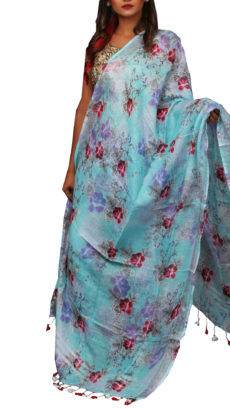 Red & Sky Blue Digital  Floral Linen Dupatta-yespoho
