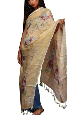 Red &  Brown  Digital  Floral Linen Dupatta-yespoho