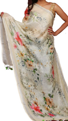 Off White Digital Floral Linen Dupatta-yespoho