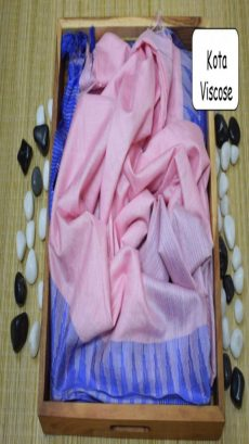 Baby Pink & Blue Kota Viscose Saree With Temple Border-yespoho