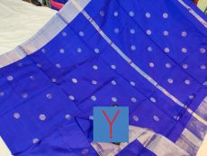Royal Blue & Silver Indu Motif Silk Saree-yespoho