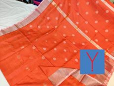 Orange & Silver Indu Motif Silk Saree-yespoho