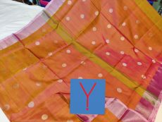 Light Orange  & Silver Indu Motif Silk Saree-yespoho