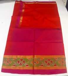 Pink & Red Plain Silk Saree With Pochampalli Small Border-yespoho