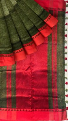 Red & Forest Green Plain Linen Saree-yespoho
