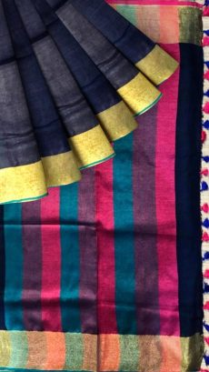 Dark Blue & Pink  Plain Linen Saree-yespoho