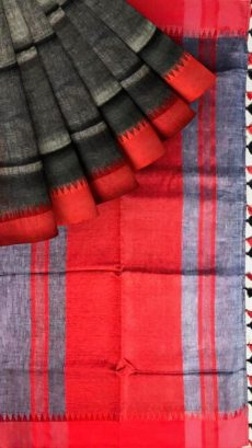 Grey & Red Plain Linen Saree-yespoho