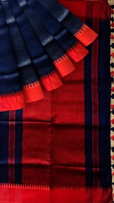 Red & Dark Navy Blue Plain Linen Saree-yespoho