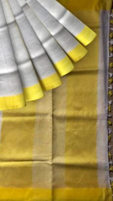 White & Yellow Plain Linen Saree-yespoho