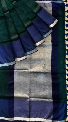 Navy Blue & Forest Green Plain Linen Saree-yespoho