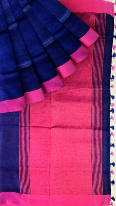 Navy Blue & Pink Plain Linen Saree-yespoho