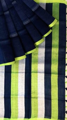 Navy Blue &  Light Green  Plain Linen Saree With Striped Pallu-yespoho