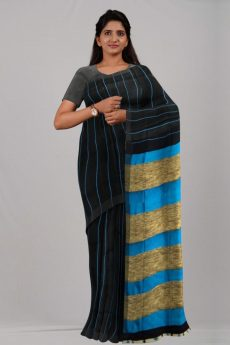 Black & Sky Blue Stripes Linen Saree-yespoho
