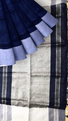 Navy Blue & Grey Plain Linen With Stripes Saree-yespoho