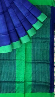 Green & Brown Plain Linen With Stripes Saree-yespoho