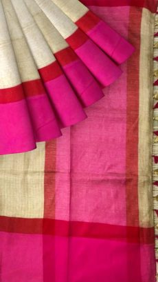 Pink & Light Brown Plain Linen With Stripes Saree-yespoho