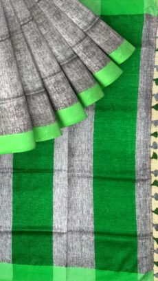 Green &Grey Plain Linen With Stripes Saree-yespoho