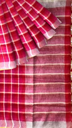 Pink & White Checks Linen With Stripes Saree-yespoho
