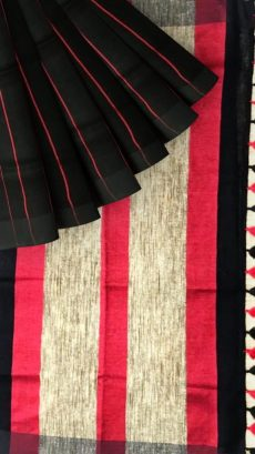 Black & Pink Stripes Linen Saree-yespoho