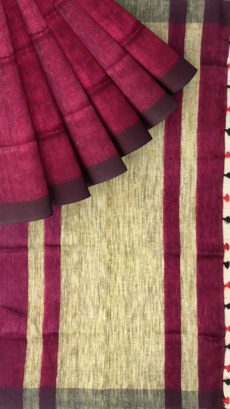 Magenta & Black Plain Linen With Stripes Saree-yespoho