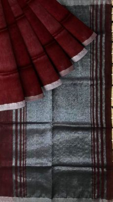 Dark Brown &Grey Plain Linen With Stripes Saree-yespoho