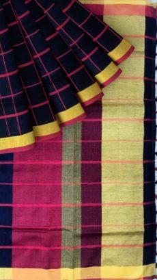 Black & Red Checks Linen With Stripes Saree-yespoho