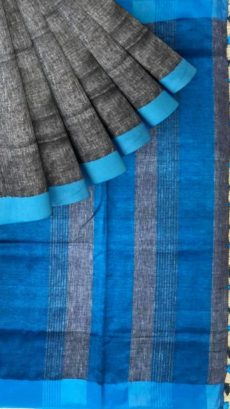 Blue &Grey  Plain Linen With Stripes Saree-yespoho