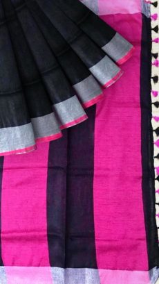 Black & Pink Plain Linen With Stripes Saree-yespoho
