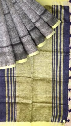 Navy Blue & Light  Olive Green  Plain Linen With Stripes Saree-yespoho
