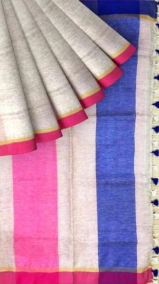 Blue &  Pink  Plain Linen With Stripes Saree-yespoho