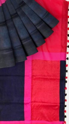 Black & Red  Stripes Linen Saree-yespoho