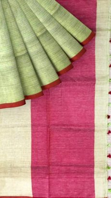 Red & Light Green Plain Linen With Stripes Saree-yespoho