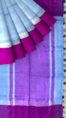Violate & Sky Blue  Linen With Stripes Saree-yespoho