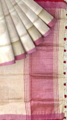 Yellow & Red Linen With Stripes Saree-yespoho